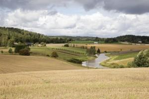 Maalaismaisema, peltoa ja joki