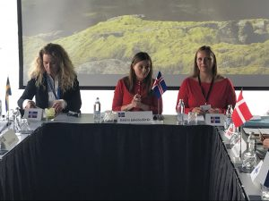 Islannin pääministeri johtamassa kokousta