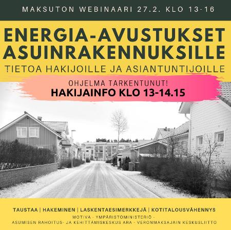 Energia-avustukset asuinrakennuksille -webinaari 27.2.2020