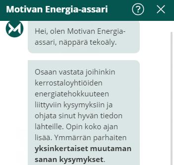 Taloyhtiöille tekoälyneuvontaa energia-asioissa