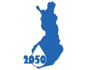 logo:Suomen kartta, vesipisara ja 2050.