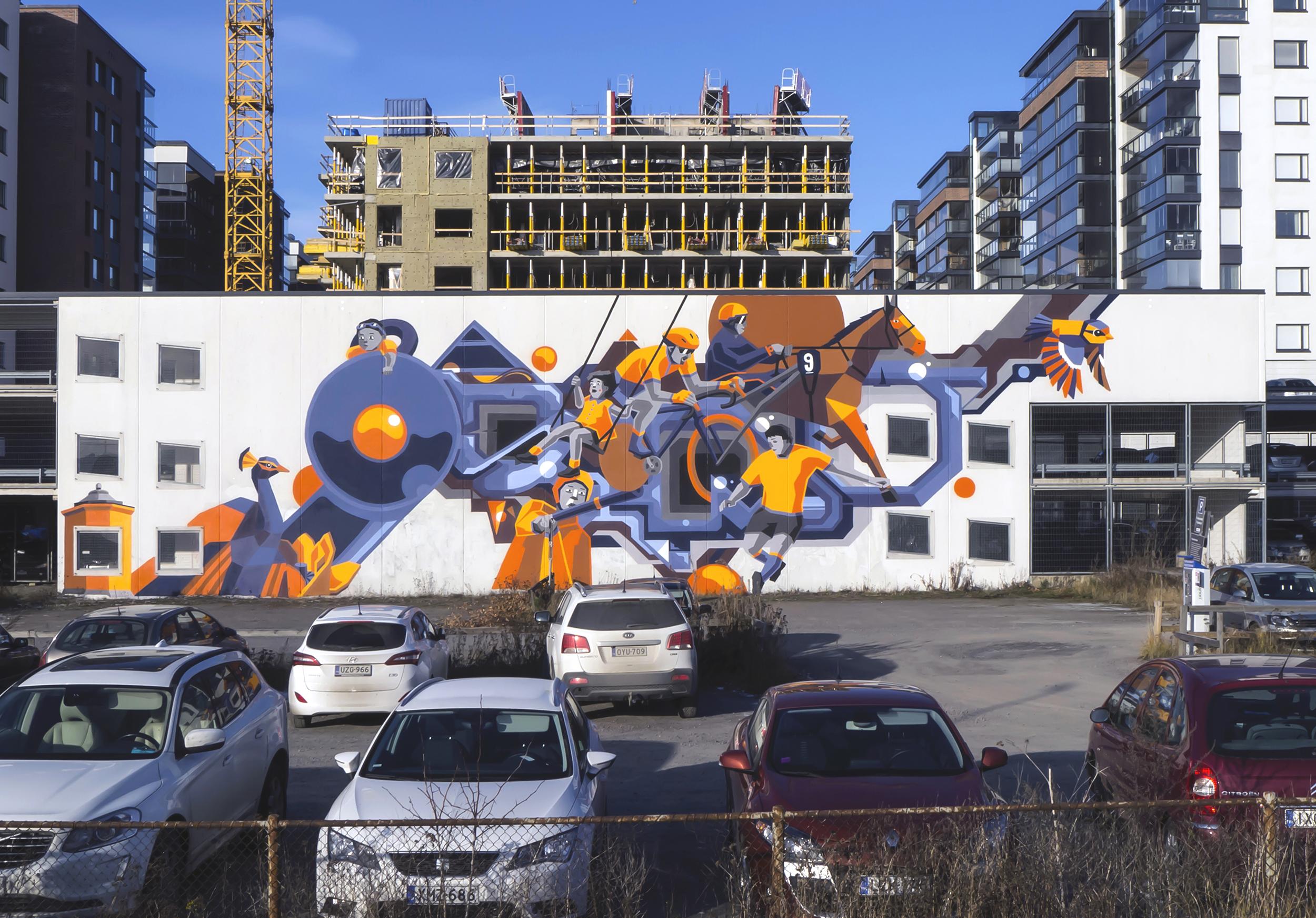 Jukka Hakasen ja Osmon graffiti-teos Kupittaanpuistossa.