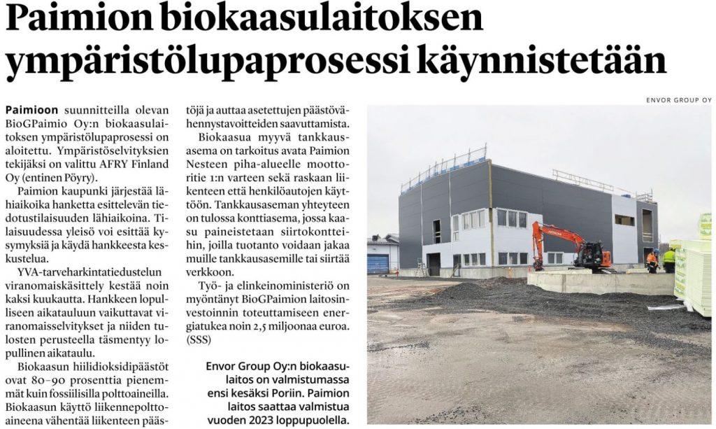 Salon Seudun Sanomien uutinen Paimion biokaasulaitoksen ympäristölupaprosesista.
