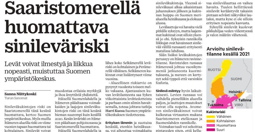 Turun Sanomien uutinen Saristomeren sivileväriskistä.