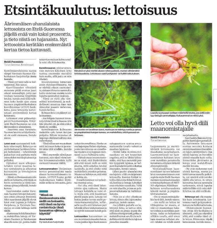 Turun Sanomien juttu: Etsintäkuulutus: lettoisuus